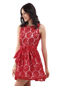 chic and trendy red lace mini dress