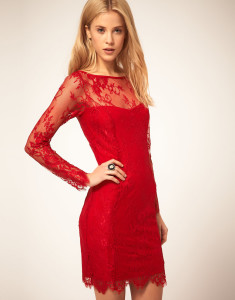elegant red lace dress