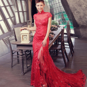 exquisite red lace wedding dress