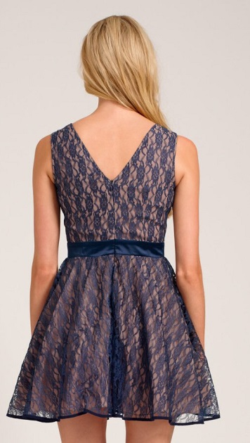 A Brief Look into Navy Lace Overlay Dress