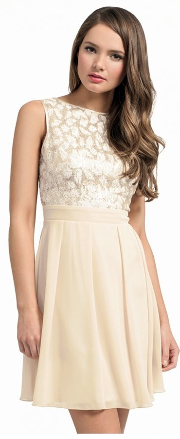Cream with Gold Sequin Lace Dress