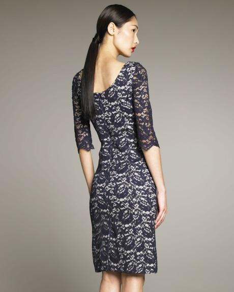 Pretty Navy Lace Sheath Dress for Women
