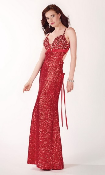 All About Long Red Sequin Dress