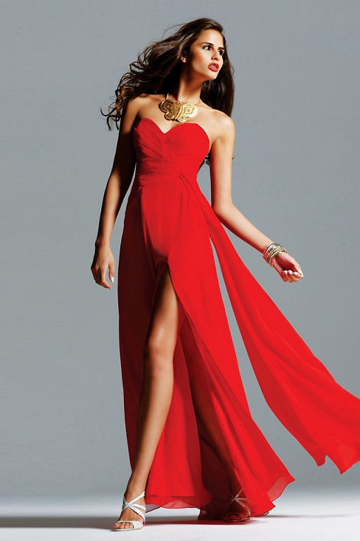 All About Red Chiffon Dress
