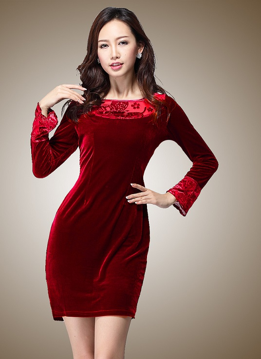 Autumn Red Velvet Dress