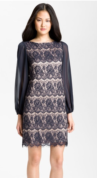 Black Lace Overlay Sheath Dress