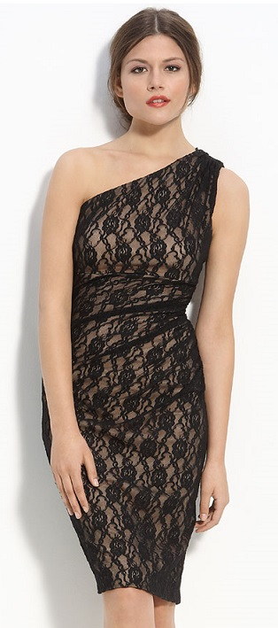 Black Maggy London One Shoulder Lace Dress