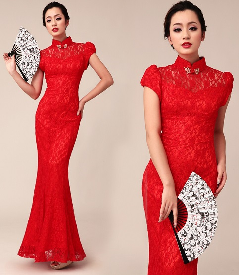Bridal Red Lace Long Dress
