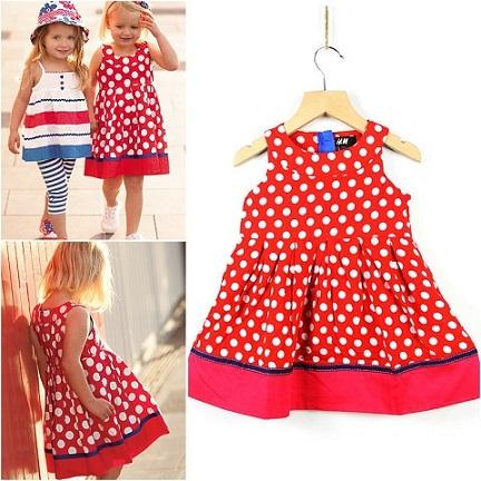 Buy Cheap Red Polka Dot Dress For Girls