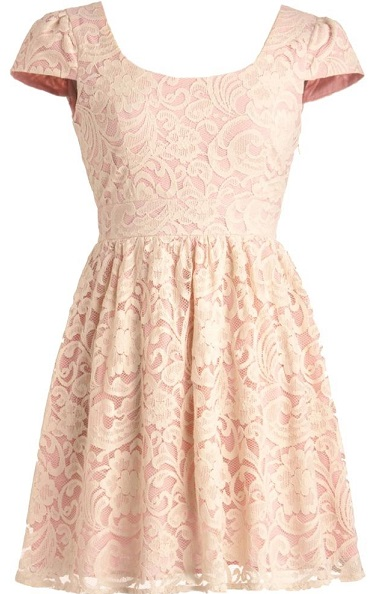 Chic Pale Pink Lace Dress