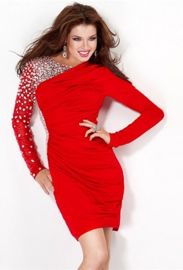 Classy Long Sleeve Red Mini Dress