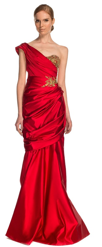 Classy One Shoulder Red Dress