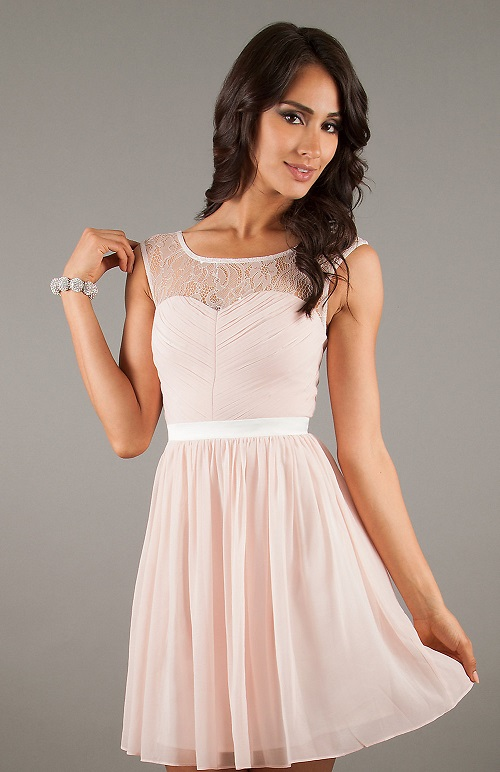 Cute Light Pink Lace Dress