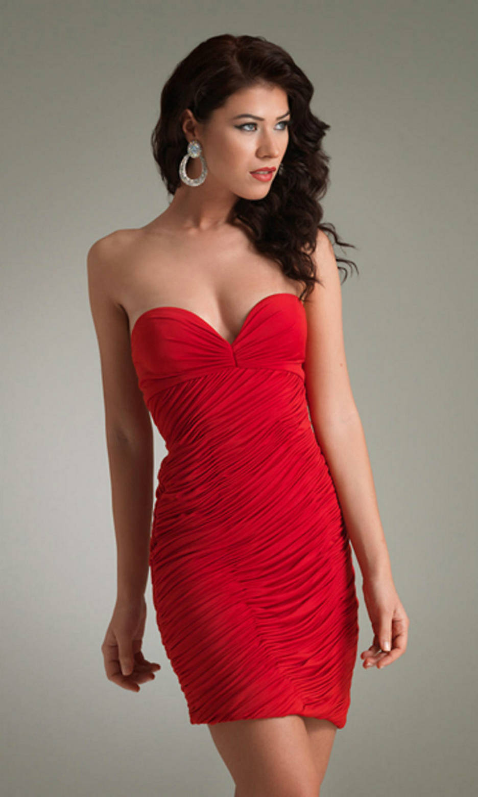 Sexy red strapless dress