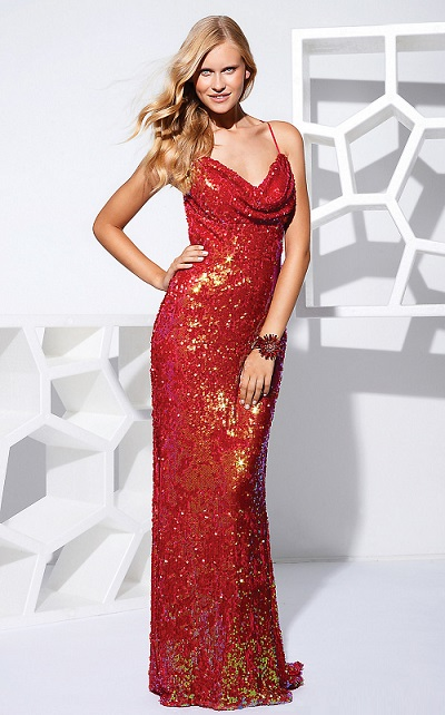 Elegant Red Sequin Prom Dress