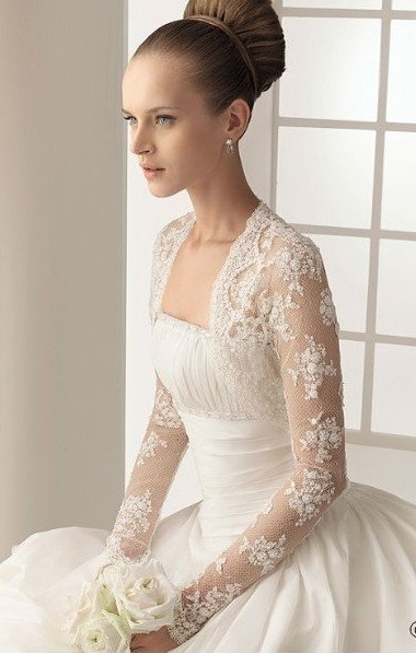 Elegant White Lace Wedding Jacket