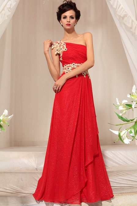 Fashioned One Shoulder Red Lace Dress