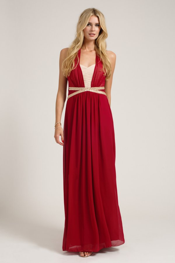 Get Red Chiffon Maxi Dress
