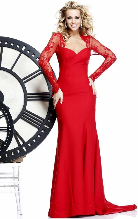 Get Red Long Lace Evening Dresses