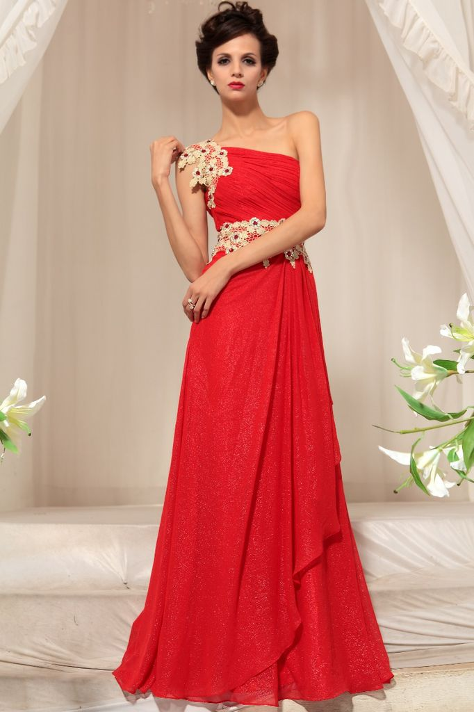 Get Red One Shoulder Evening Dress
