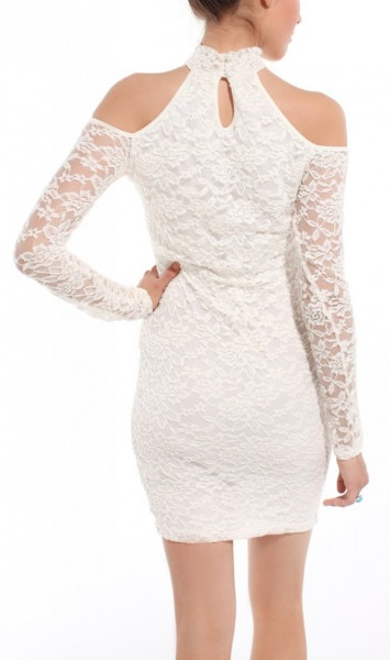 Get White Cold Shoulder Lace Bodycon Dress