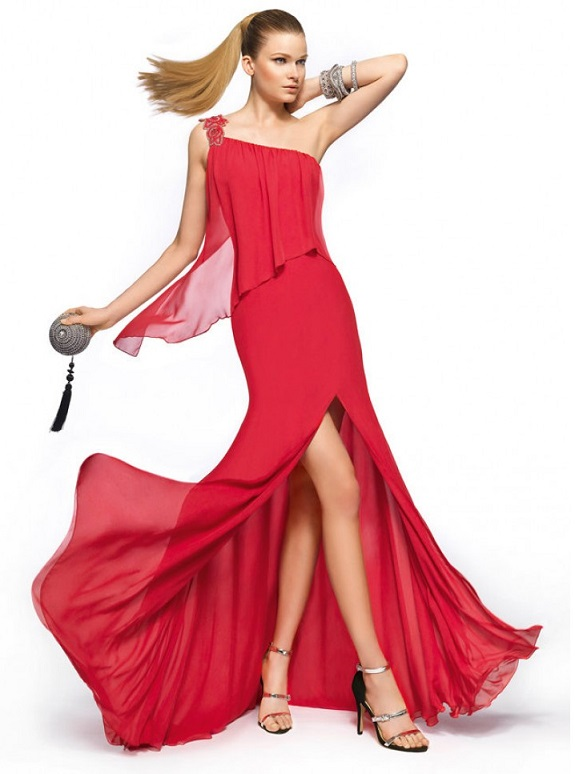 Glamarous Red Chiffon Cocktail Dress