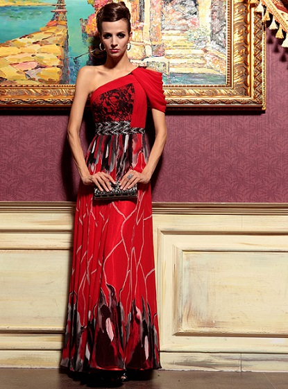 Gothic Long Red Velvet Dress