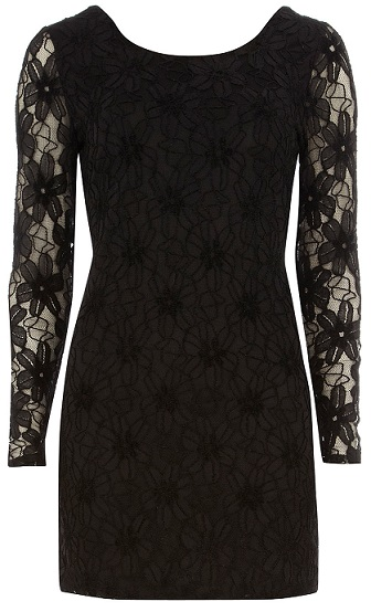 Ladies Black Long Sleeve Lace Dress