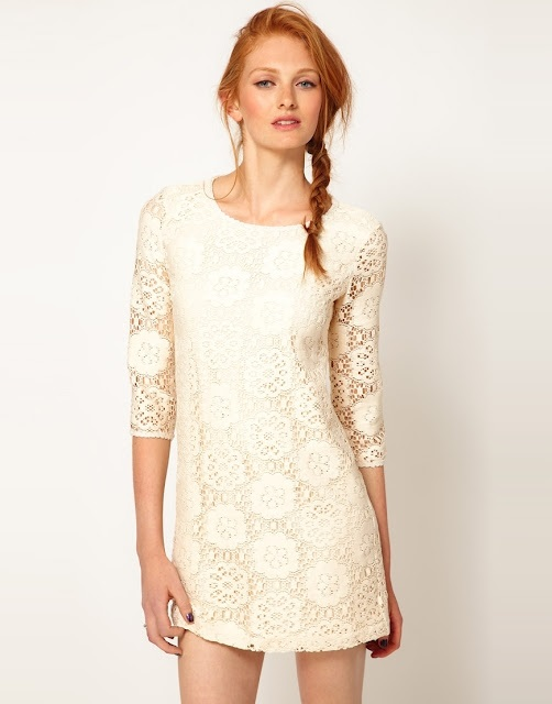 Ladies Cream Lace Shift Dress