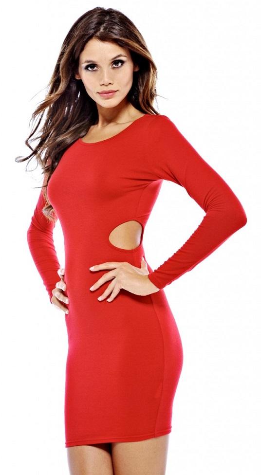 Ladies Long Sleeve Red Bodycon Dress
