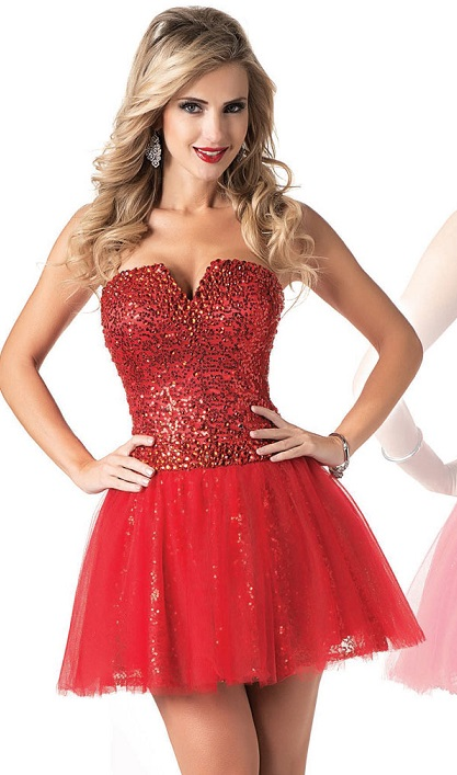 Ladies Sexy Red Sequin Mini Dress