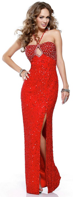 Open Back Long Red Sequin Dress