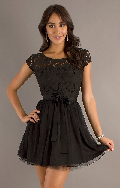 Petite Black Lace Dresses For Juniors