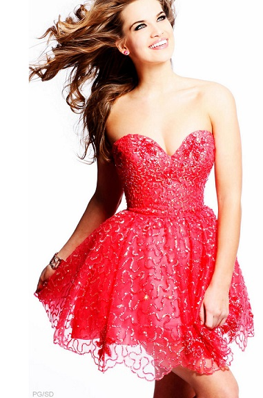 Petite Long Red Sequin Dress