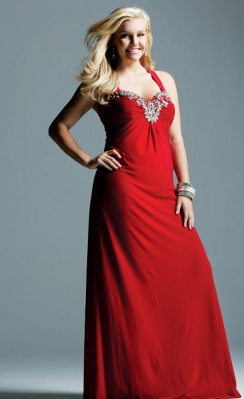 Pretty Plus Size Red Evening Dresses