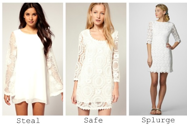 Pretty Womens White Lace Mini Dress