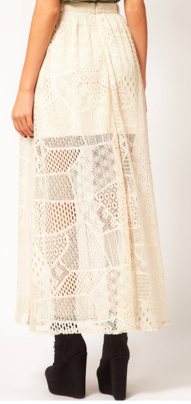 River Island Chelsea Girl White Lace Maxi Skirt