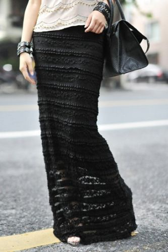 See Through Black Lace Maxi Skirt