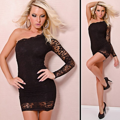 Sexy Black One Shoulder Lace Dress