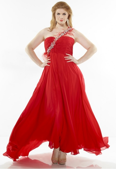 Sexy Plus-Size Long Red Prom Dresses