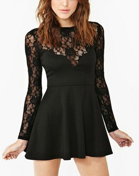 Stylish Long Sleeve Black Lace Dress