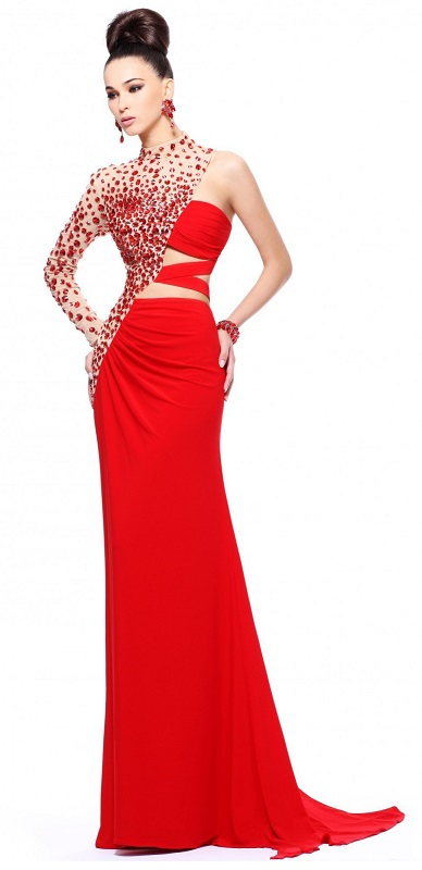 Unique Cool Style One Long Sleeve Beaded Red Dress