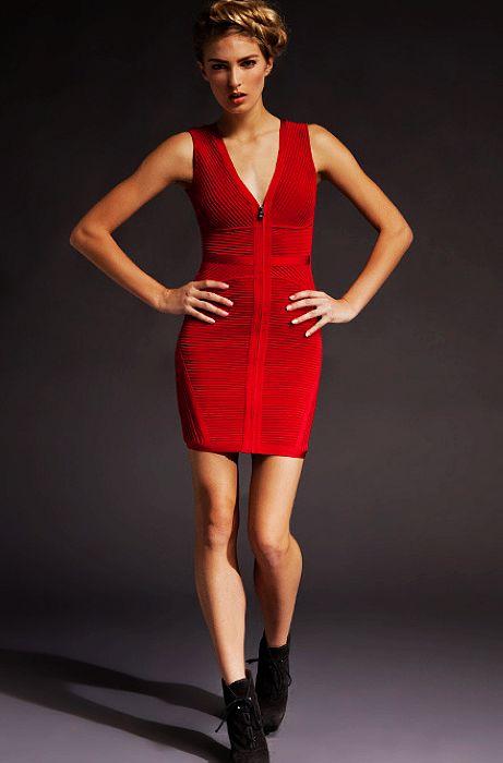 Unique Red Bandage Bodycon Dress