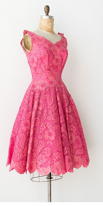 Vintage Hot Pink Lace Dress