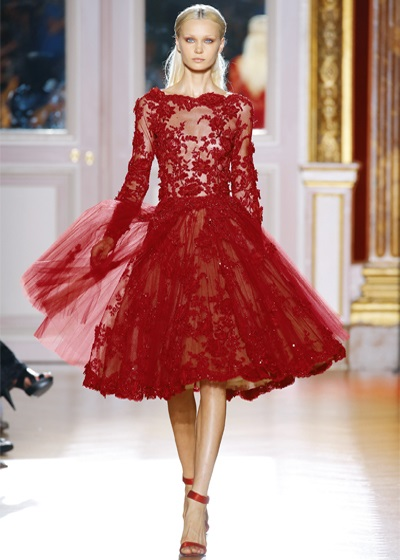 Wonderful Red Lace Cocktail Dress