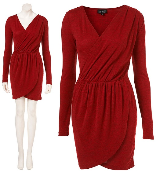 Casual Red Jersey Wrap Dress