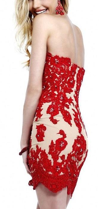 Beautiful Red Lace Homecoming Dress