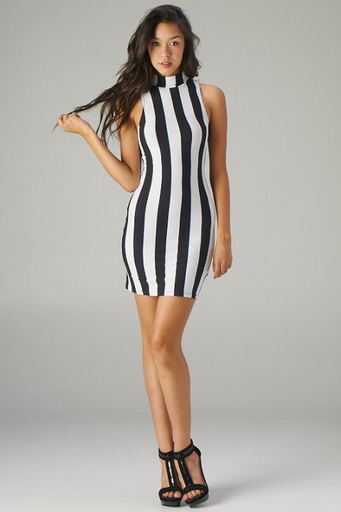Black and White Fitted Dresses