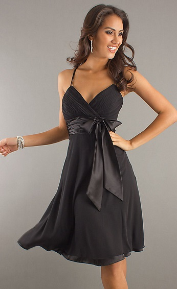 Buy Inexpensive Sexy Little Black Dress with Ribbon