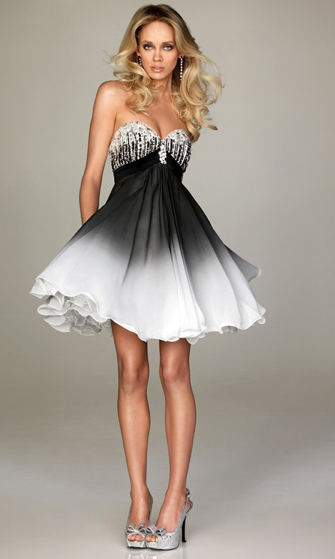 Cute Short White wiht Black Prom Dresses